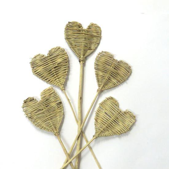 Obrázek z Lata heart - přírodní, na stonku (5ks)