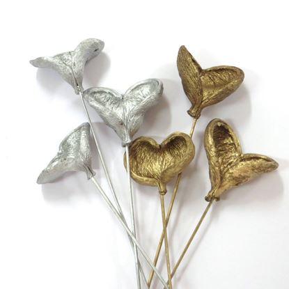 Obrázek Badam na stonku - zlatý, stříbrný (10ks)