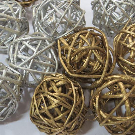 Obrázek z Lata ball 6cm - zlatý, stříbrný (6ks)